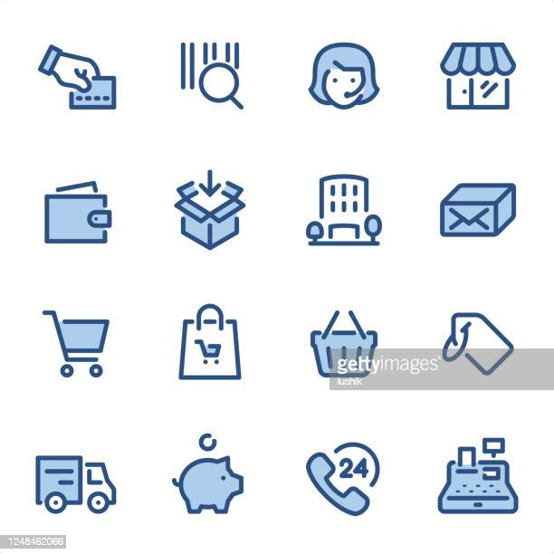 shopping - pixel perfect blue line icons - usa outline stock illustrations