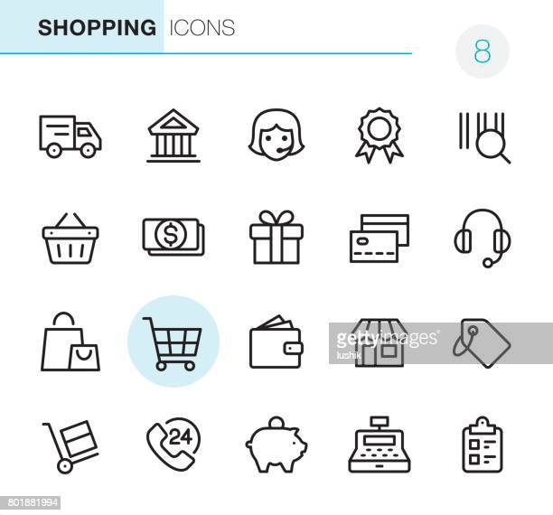 shopping - pixel perfect icons - shopping cart stock illustrations