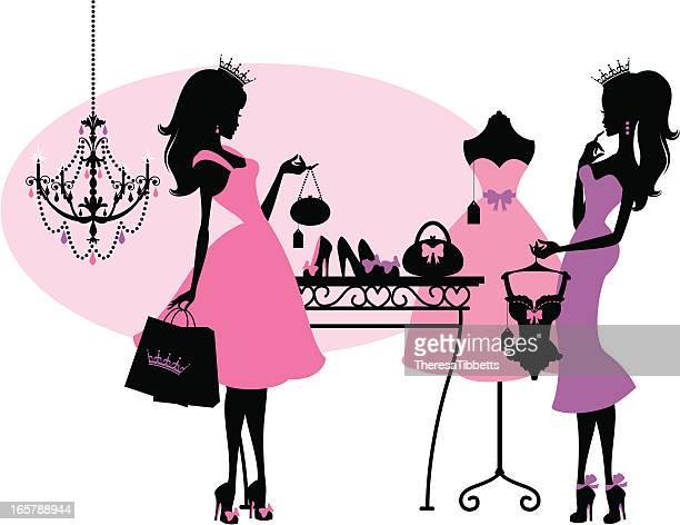 shopping princesses - boutique stock illustrations, clip art, cartoons, & icons