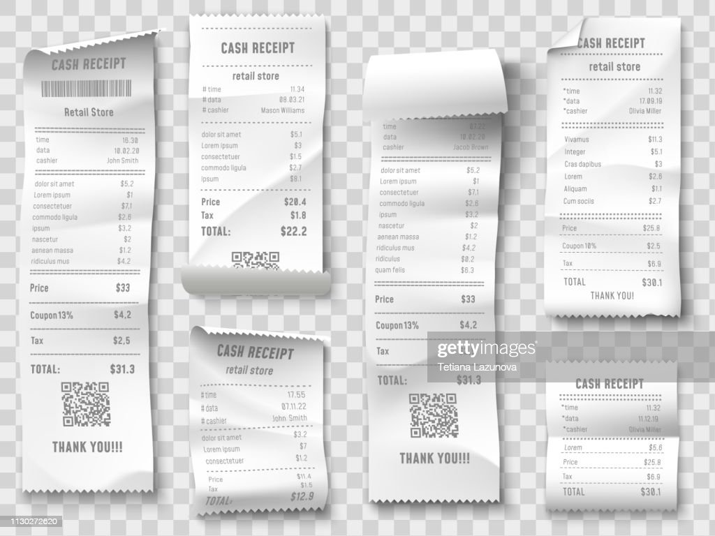 Shopping receipt. Retail store purchase receipts, supermarket invoice printing and purchasing bill isolated vector collection : stock illustration