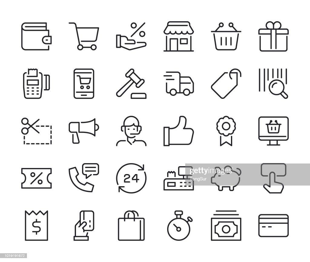 Shopping - Regular Line Icons : stock illustration