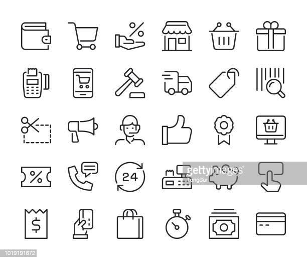 shopping - regular line icons - cardkey reader stock illustrations, clip art, cartoons, & icons