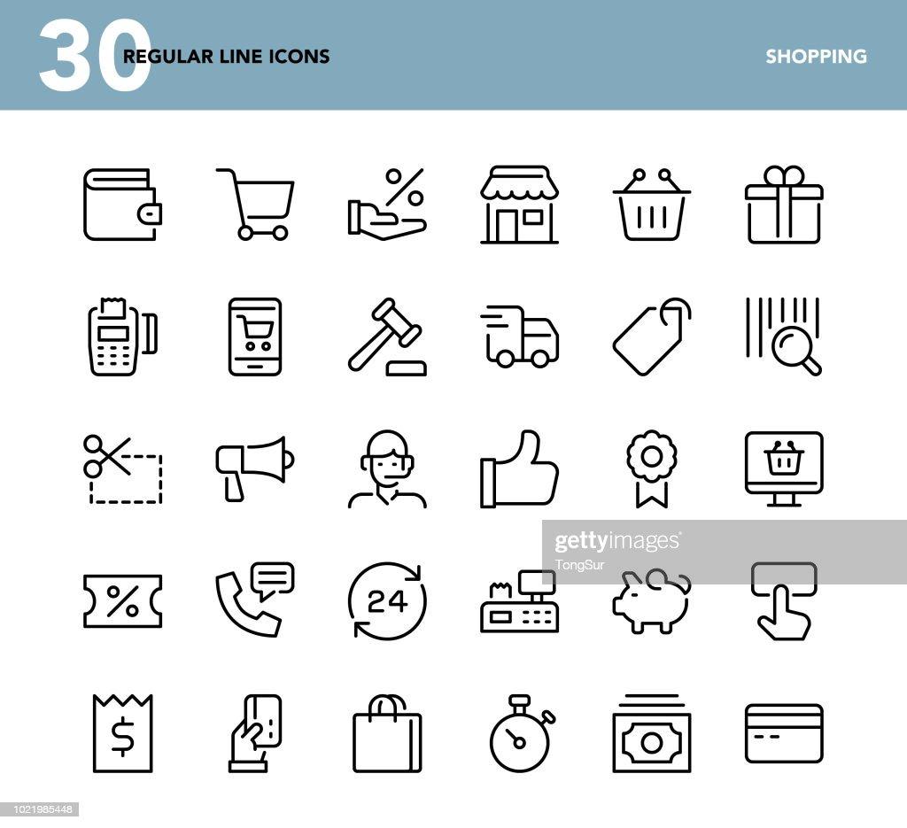 Shopping - icônes de ligne régulière : Illustration