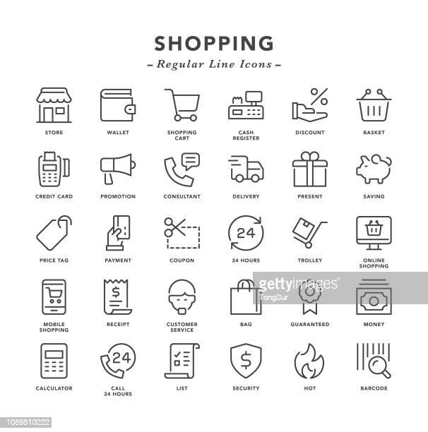 shopping - regular line icons - credit card reader stock illustrations