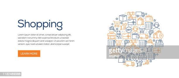 Plantilla de banner relacionado con las compras con iconos de línea. Ilustración vectorial moderna para publicidad, cabecera, website.