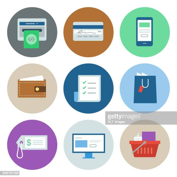 shopping & retail icons — circle series - shopping list stock illustrations, clip art, cartoons, & icons