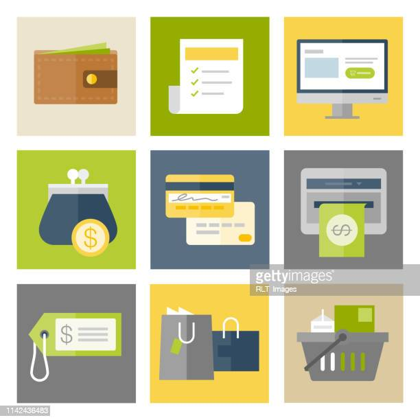 shopping & retail icons — flat series - shopping list stock illustrations, clip art, cartoons, & icons