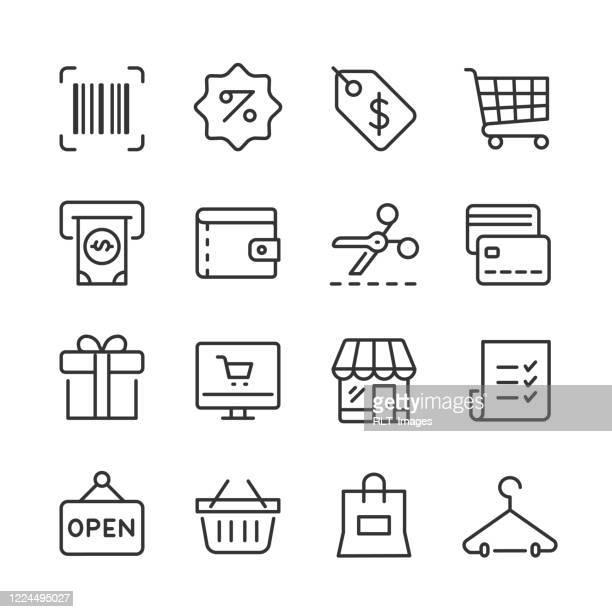 shopping & retail icons — monoline series - price tag stock illustrations