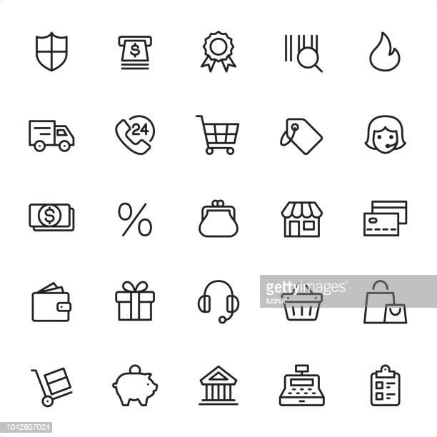 shopping & retail - outline icon set - shopping cart stock illustrations