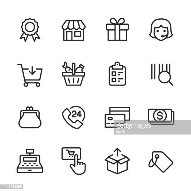 shopping & retail - outline icon set - cash flow stock illustrations, clip art, cartoons, & icons