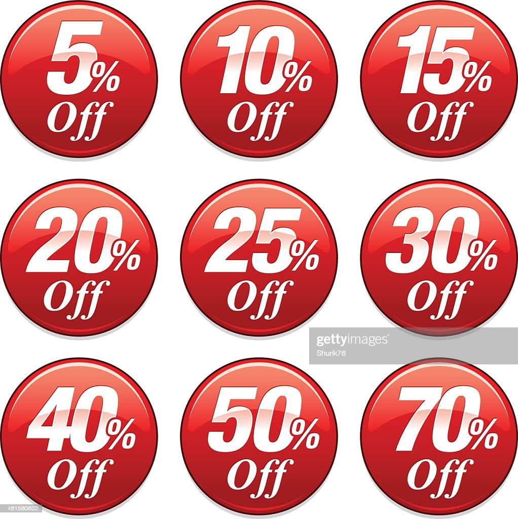 Shopping Sale Discount Badge in Red