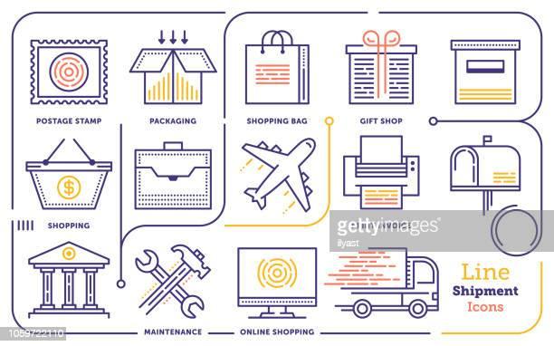 Compras y envío conjunto de iconos de línea