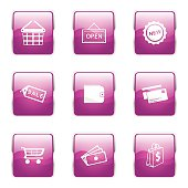 Shopping Sign Square Vector Pink Icon Design Set 2