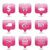 Shopping Sign Square Vector Pink Icon Design Set