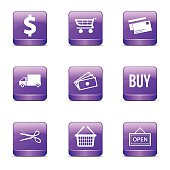 Shopping Sign Square Vector Violet Icon Design Set