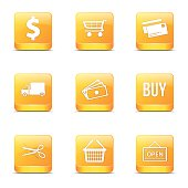 Shopping Sign Square Vector Yellow Icon Design Set