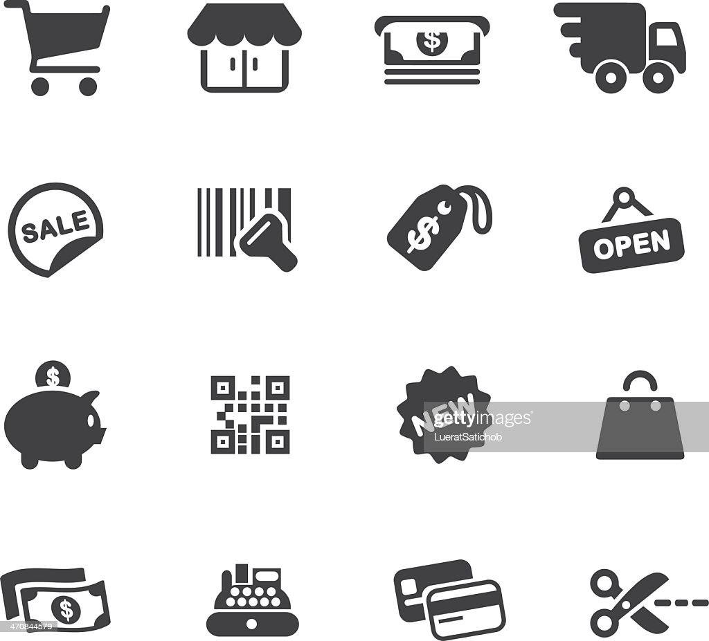 Shopping Silhouette Icons : stock illustration