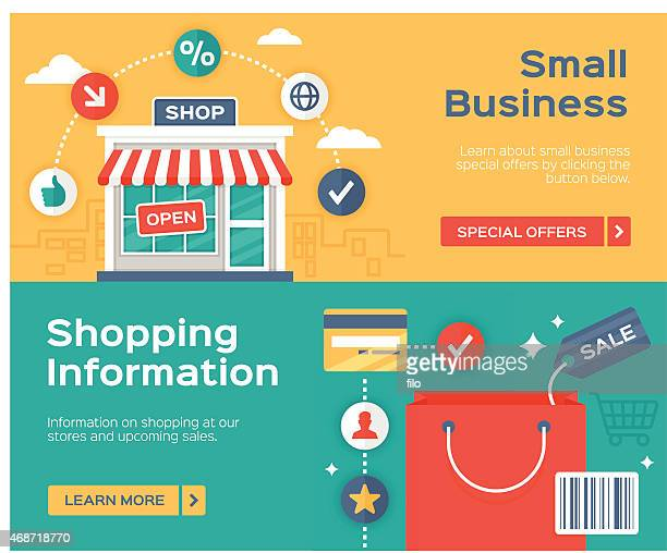 shopping small business and sale information banners - small business stock illustrations