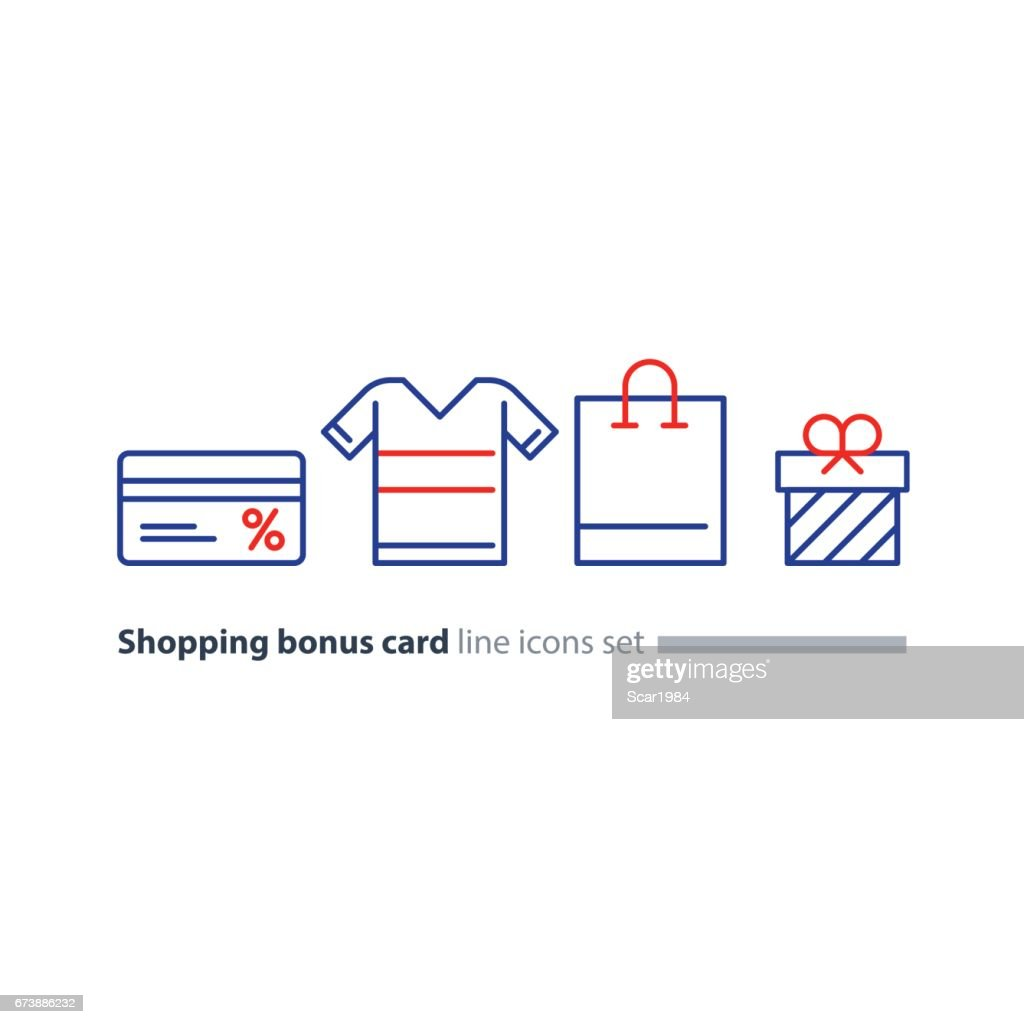 Shopping special offer, bonus card loyalty program concept