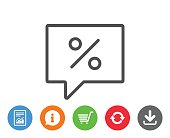 Shopping speech bubble line icon. Special offer.