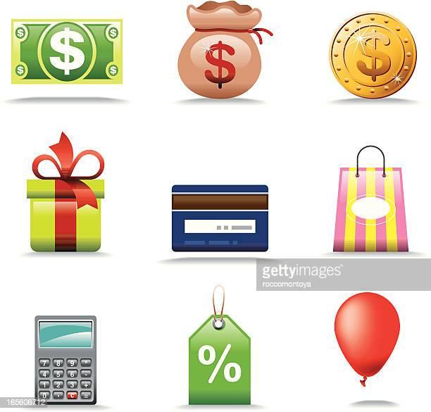 shopping store, icon set - christmas cash stock illustrations