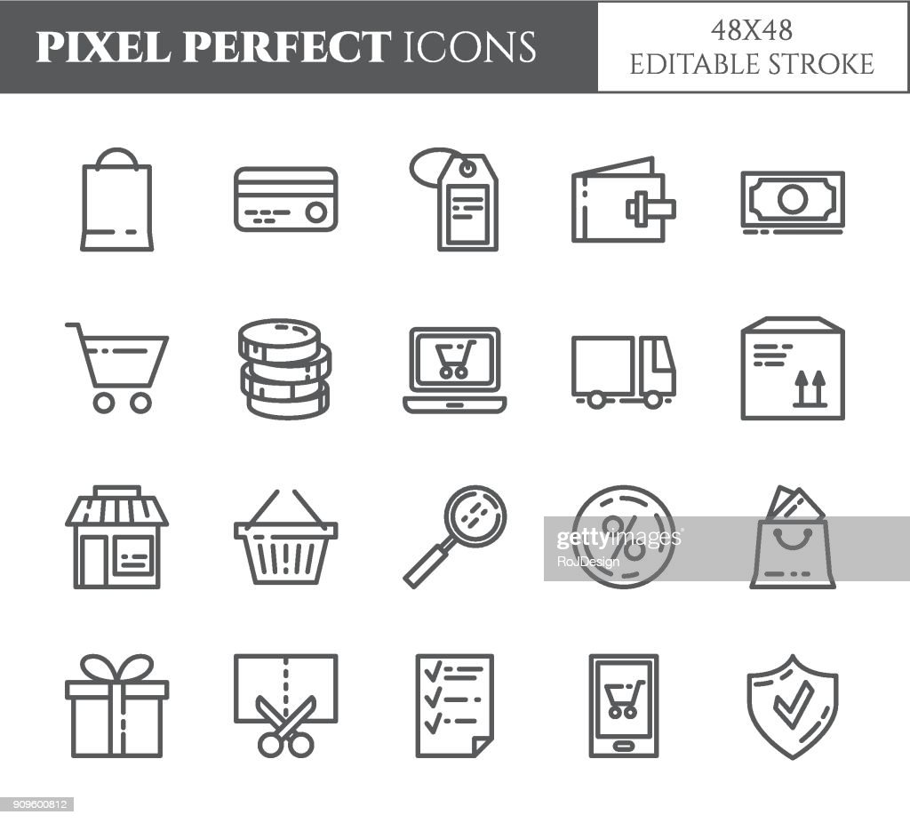 Shopping theme pixel perfect thin line icons.