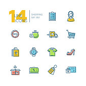 Shopping - thick line icons set