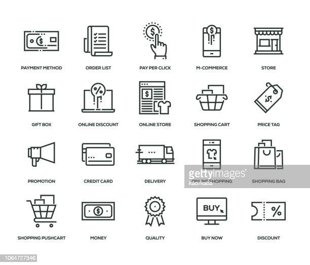 shopping thin line icon set - boutique stock illustrations, clip art, cartoons, & icons