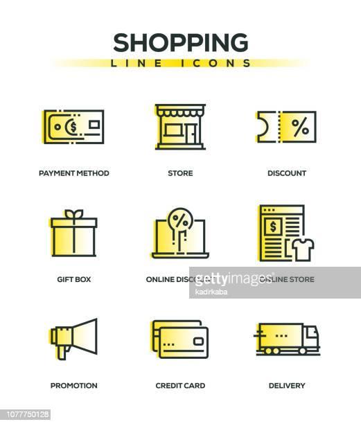 Conjunto de iconos de delgada línea comercial