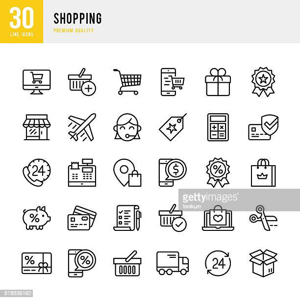shopping - thin line icon set - shopping cart stock illustrations