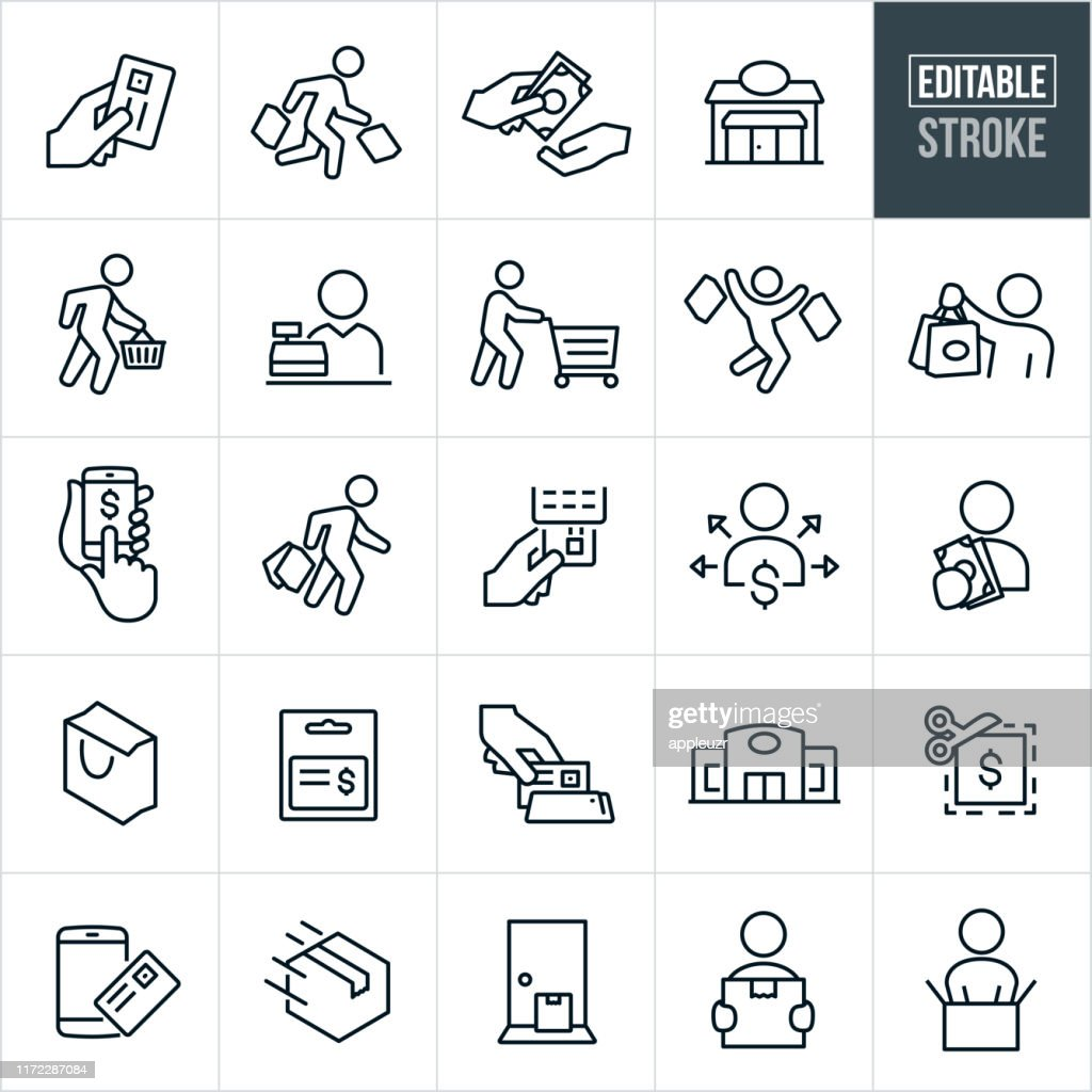 Shopping Thin Line Icons - Editable Stroke : stock illustration