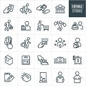 Shopping Thin Line Icons - Editable Stroke