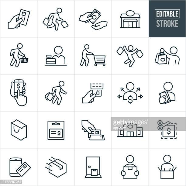 stockillustraties, clipart, cartoons en iconen met thin line-pictogrammen voor shopping-bewerkbare lijn - eén persoon