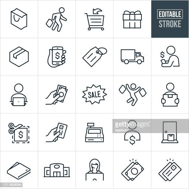 einkaufsdünnstrich-symbole - bearbeitbarer strich - elektronischer handel stock-grafiken, -clipart, -cartoons und -symbole