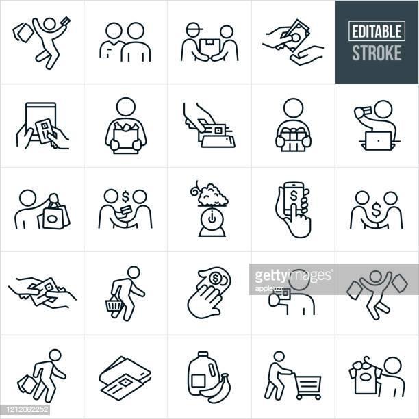 shopping thin line icons - editable stroke - retail stock illustrations