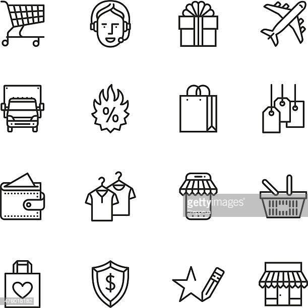 illustrations, cliparts, dessins animés et icônes de fine ligne icônes shopping - sac
