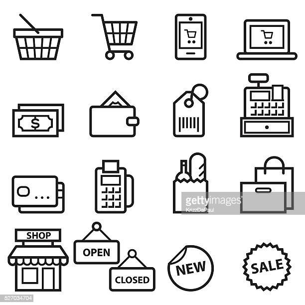 shopping thin line icons - shopping basket stock illustrations