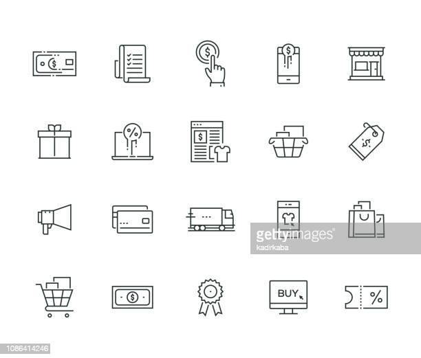 shopping thin line series - boutique stock illustrations, clip art, cartoons, & icons