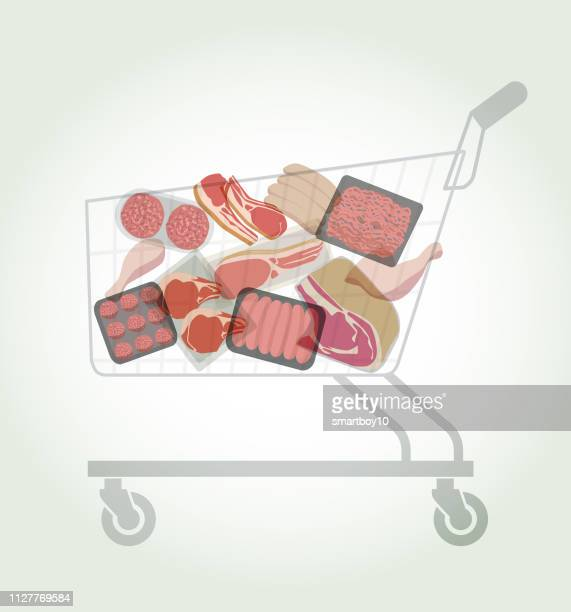 shopping trolley or cart with various meat products - ground beef stock illustrations, clip art, cartoons, & icons