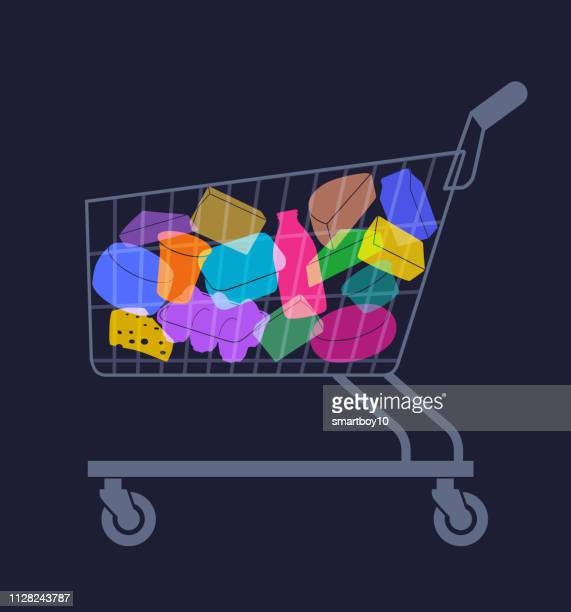 shopping trolley with various dairy products - shopping cart stock illustrations