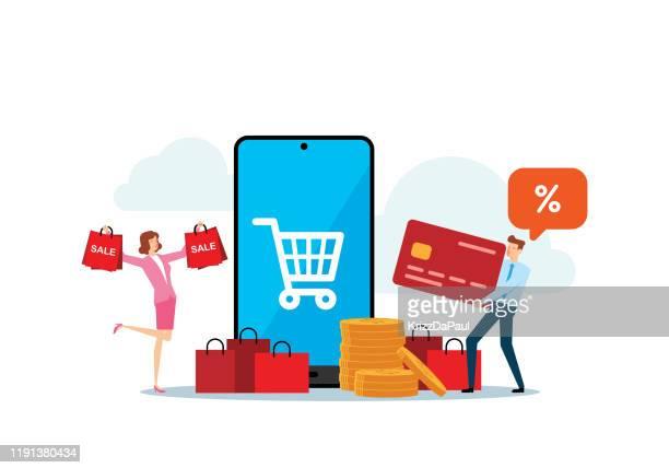 shopping - online shopping stock illustrations