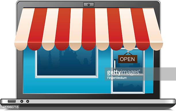 shopping - awning stock illustrations, clip art, cartoons, & icons