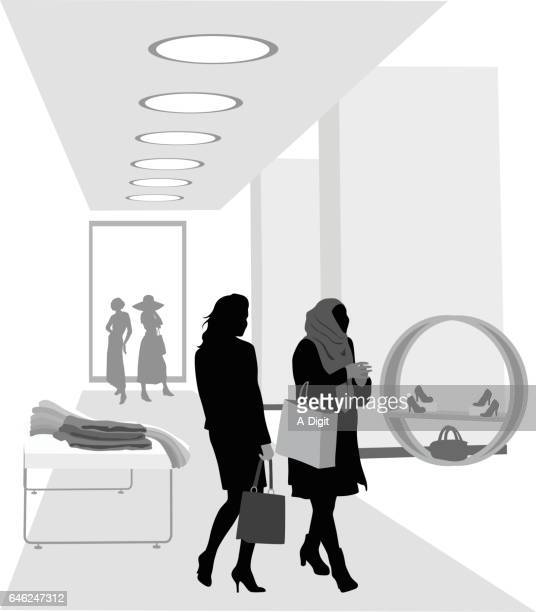 shopping with friends - mannequin stock illustrations, clip art, cartoons, & icons