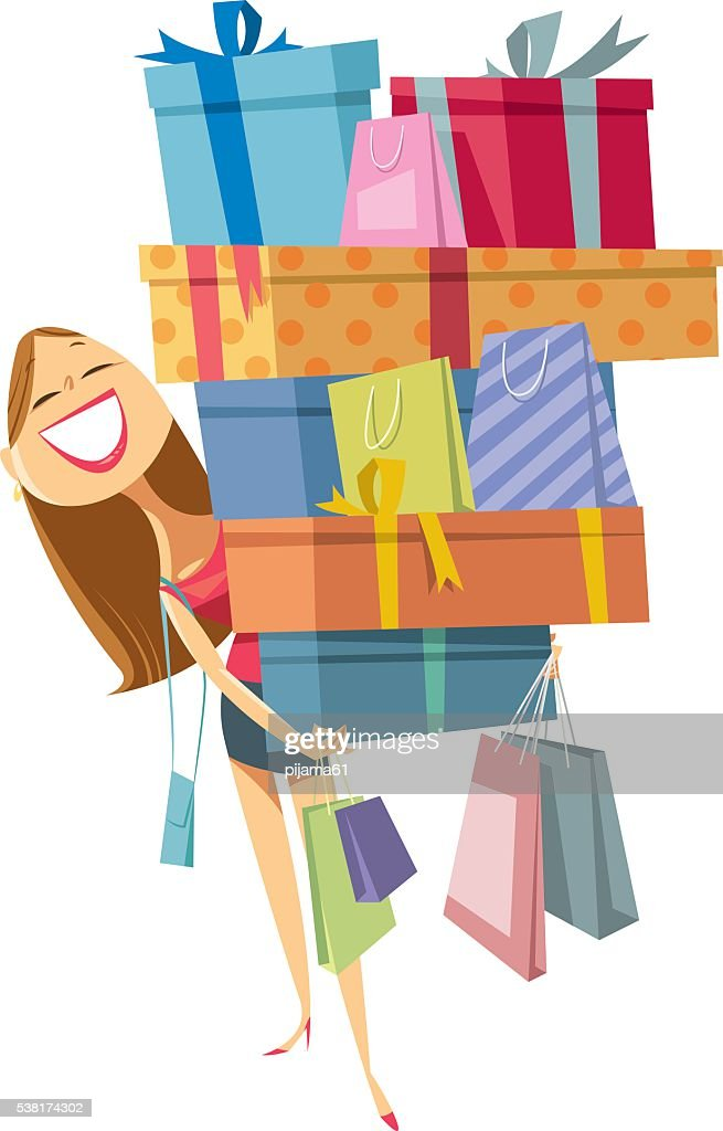 Dessin Shopping shopaholic stock illustrations and cartoons |