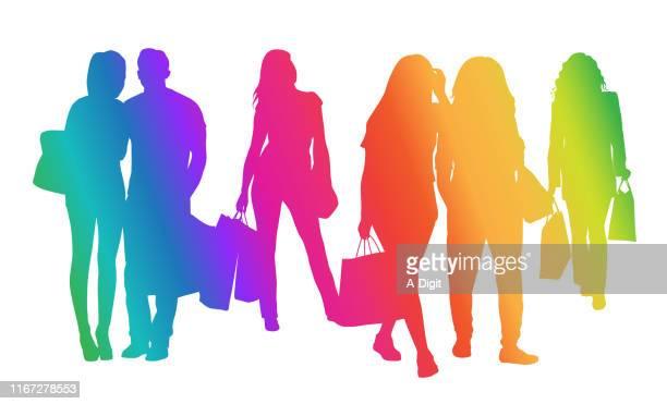 shopping youth rainbow - money to burn stock illustrations, clip art, cartoons, & icons