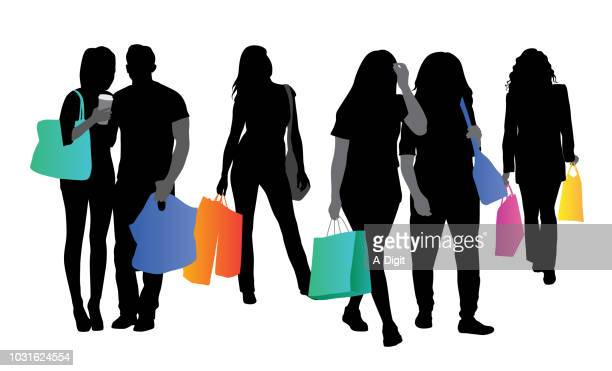 shopping youth - retail stock illustrations