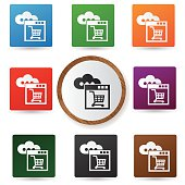 Shopping,Cloud data icons on colorful buttons,vector