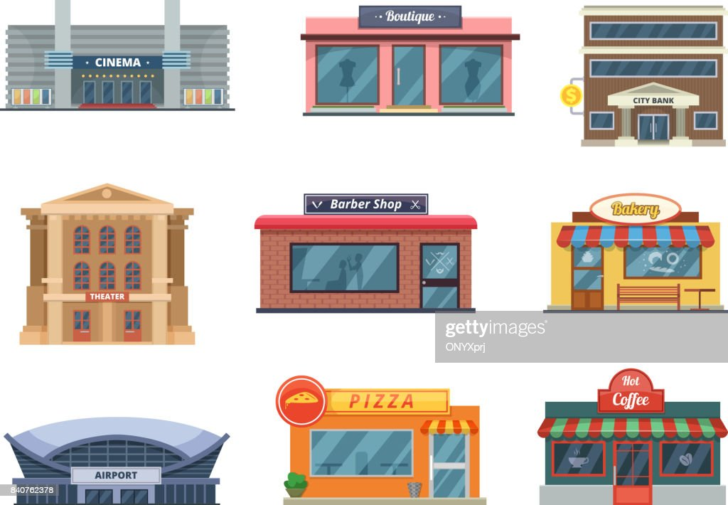 Shops and municipal buildings, mini stores and others. Vector pictures in cartoon style isolate on white
