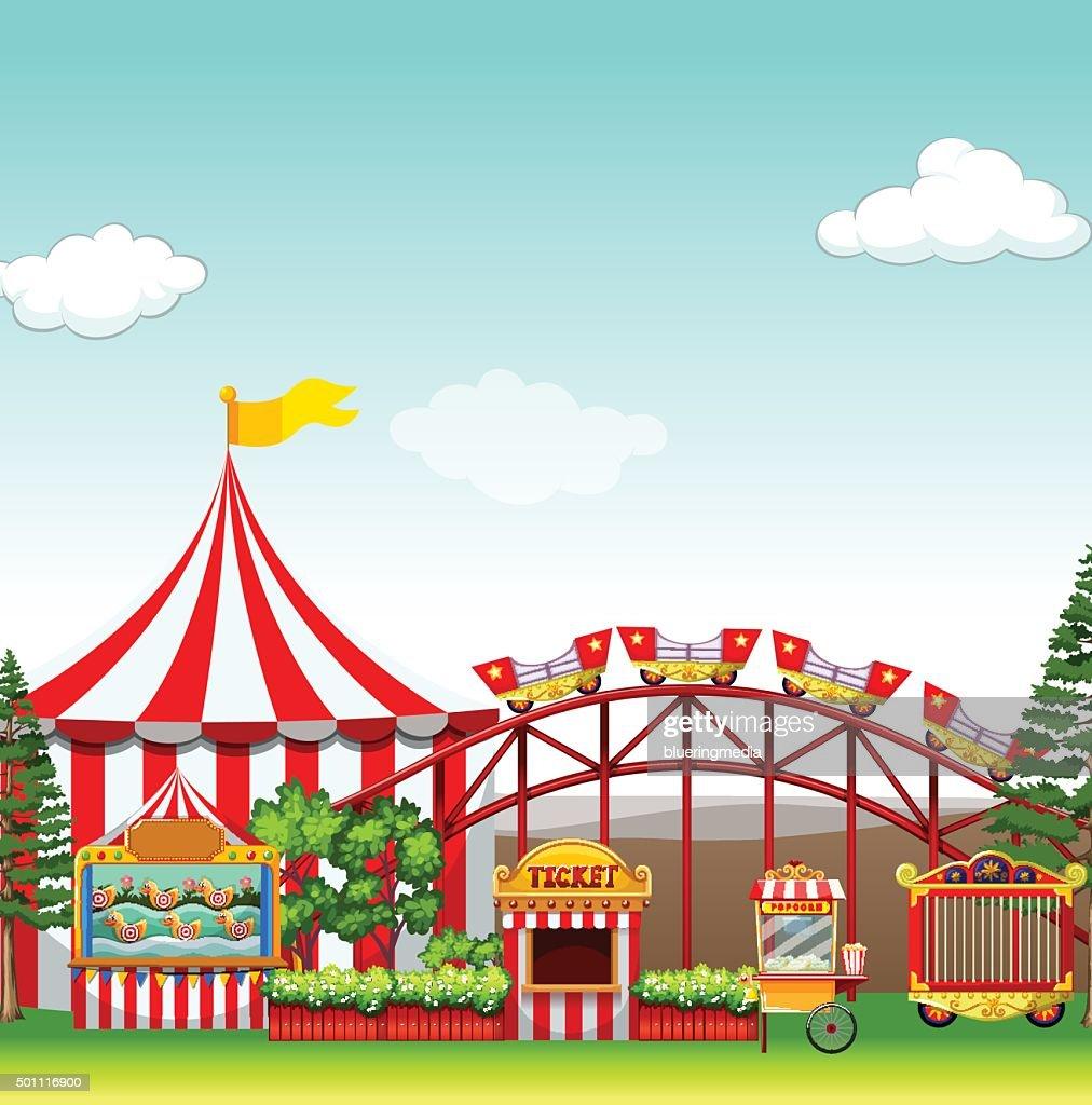 Shops and rides  amusement park