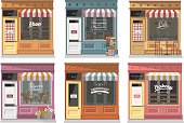 Shops and stores facade icons set in flat design style.